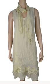 pretty angel Caramel Linen Blend Dresses Set with matching Scarves