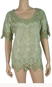 pretty angel Light Green Linen Blend Tops with Lace