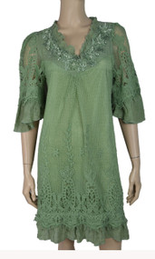 pretty angel Green Silk Blend Dress with Pearls
