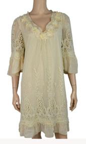 pretty angel Coffee Silk Blend Dress with Pearls