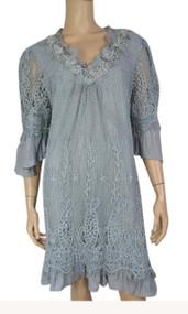 pretty angel Gray Silk Blend Dress with Pearls