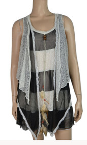 pretty angel Black & Cream Silk Blend Sleeveless Tunic