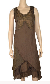 pretty angel Coffee Lace Linen Blend Butterfly Front Design Dresses