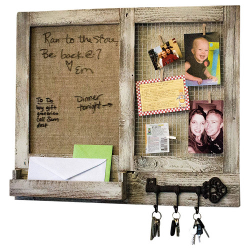 Marker Board Message Center with Chicken Wire Photo Display, Mail Holder, and Key Hooks - Whitewash