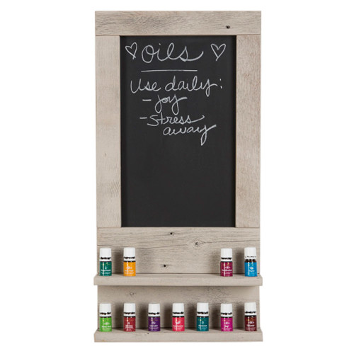 Essential Oil Wall Hanging Display Shelves with Chalkboard - Whitewash
