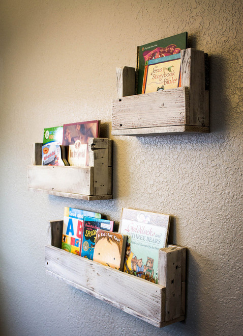 Reclaimed Wood Bookshelves Various Sizes (Set of 3)