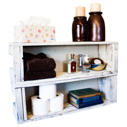 Stackable Crate Style Display Shelves (Set of 2) - Whitewash