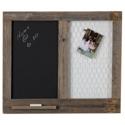 Message Center with Chalkboard and Chicken Wire - Natural