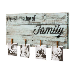 Clothespin Photo Display 'Cherish the Joy of Family' Decorative Sign, Reclaimed Wood, Light Blue