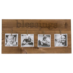 "Photo Display Board with ""blessings"" carved into wood"