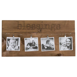 "Photo Display Board with Wire, Clips, and ""blessings"" carved into wood"