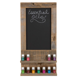 Essential Oil Display Shelves With Framed Chalkboard, Reclaimed Wood - Natural
