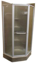 """32"""" Angle Shower Door - Nickel - Obscured"""
