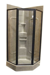 """32"""" Angle Shower Door - Oil Rubbed Bronze - Clear"""