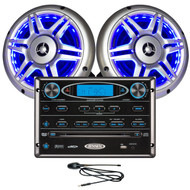 "Jensen Wallmount Stereo w/ Two 6.5"" LED Marine RV Speakers and Antenna Package"