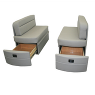 Grey Curved Booth with Storage Drawer RV Dinette