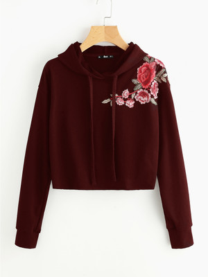 Embroidered Flower Patch Raw Hem Hoodie  A1942