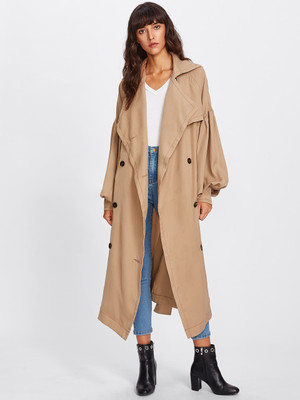 Oversized Collar Bishop Sleeve Trench Coat  A982