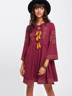 Tasseled Tied Neck Embroidery Smock Dress A1272