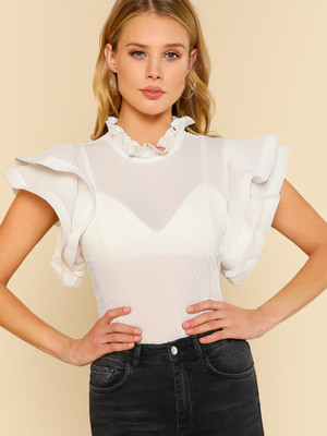 Pleated Ruffle Cap Sleeve Top OFF WHITE A363