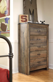 Trinell Brown Five Drawer Chest