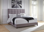 Contemporary King Gray Upholstered Bed