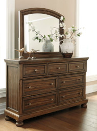 Flynnter Medium Brown Dresser & Mirror