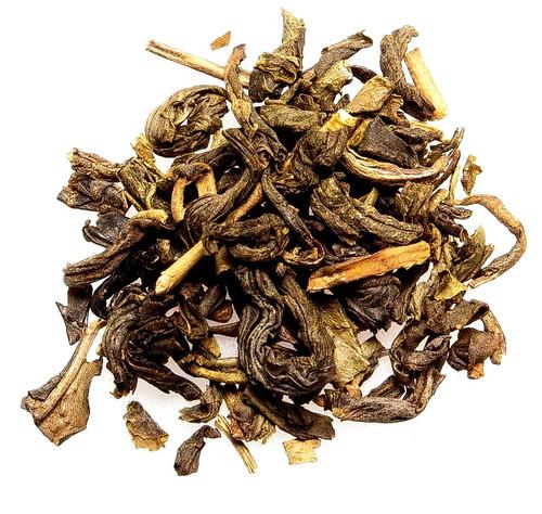 Green loose leaf tea infused with jasmine