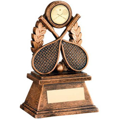 BRZ/GOLD 'SQUASH' OVAL WREATH TROPHY - (1in CENTRE) 7in