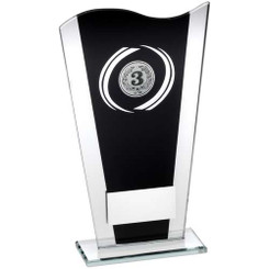 BLACK/SILVER PRINTED GLASS PLAQUE WITH SILVER GENERIC SWIRL TROPHY - (2in CENTRE