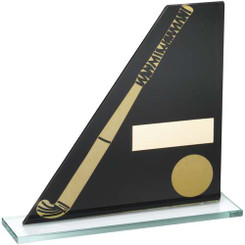 BLACK/GOLD PRINTED GLASS PLAQUE WITH HOCKEY STICK/BALL TROPHY - 6.5in