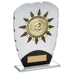 JADE/BLACK GLASS PLAQUE WITH GOLD SUNSHINE TRIM TROPHY - (2in CENTRE) 6.5in