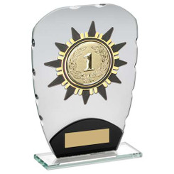 JADE/BLACK GLASS PLAQUE WITH GOLD SUNSHINE TRIM TROPHY - (2in CENTRE) 7.25in