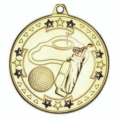 Golf 'Tri Star' Medal - Gold 2In