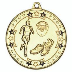 Running 'Tri Star' Medal - Gold 2In