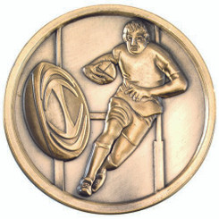 Rugby Medallion - Antique Silver 2.75In