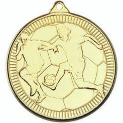 Football 'Multi Line' Medal - Gold 2In
