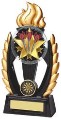 """Black/Gold Resin Flame Darts Trophy - TW18-074-782ZBP - 19cm (7 1/2"""")"""