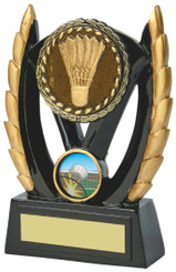 "Black & Gold Resin Badminton Award - TW18-083-793CP - 11cm (4 1/2"")"