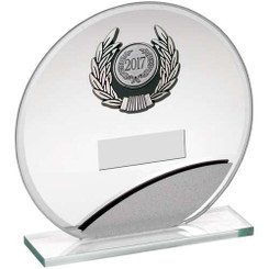 Jade/Silver Round Glass With Silv/Blk Trim Trophy - (1In Centre) 7In