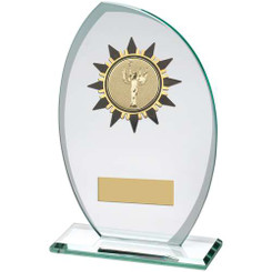 Jade/Frosted Glass Plaque With Gold/Blk Sunshine Trim Trophy - (2In Centre) 6.75