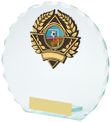 "Round Jade Glass Award - TW18-102-131DP - 10cm (4"")"