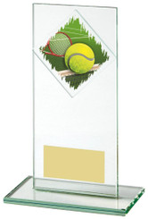 "Jade Glass Tennis Award - TW18-090-435ZCP - 16cm (6 1/4"")"