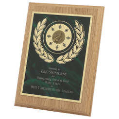 Light Wood Plaque Award with Green Front - 20cm