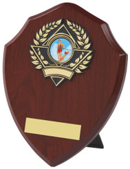 "Wood Effect Shield Trophy - TW18-116-157BP - 15.5cm (6 1/4"")"
