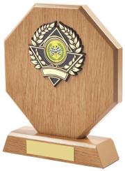 "Light Wood Octagon Sports Award - TW18-117-630CP - 14cm (5 1/2"")"