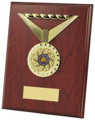 "Wood Plaque Award with Medal Design - TW18-117-454AP - 23cm (9"")"
