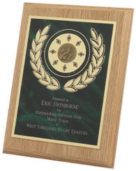 """Light Wood Plaque Award with Green Front - TW18-120-165CP - 15cm (6"""")"""