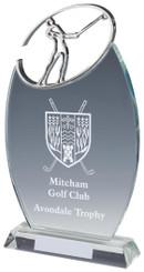 "Crystal Oval Golf Award with Metal Golf Figure - TW18-163-T.0884 - 26cm (10 1/4"")"