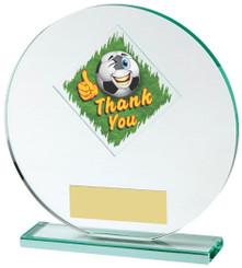 "Jade Glass Circle Football Thank You Award - 15cm (6"") - TW18-031-525ZAP"